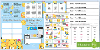 Year 5 Emoji Themed Spelling Menu Pack -  spag, gps, home learning, weekly, lists, test,