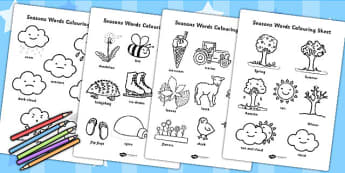 Season Words Colouring Sheets - seasons, colour in, colours