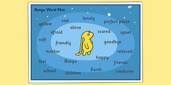Word Mat to Support Teaching on Beegu - Beegu, Word mat, Beegu words, story book word mats, story book keywords, beegu story words, beegu words