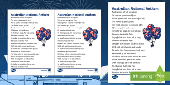 Advance Australia Fair National Anthem Print-Out - Australian Requests,Australia, national anthem, patriotic