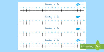 Counting in 2s Number Line - skip counting, counting in 2s, number line, Year 1, 5-7,