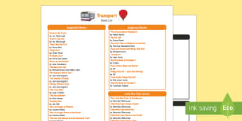 Transport Book List - EYFS, Early Years, Transport and Travel, cars, planes, trains, boats, fiction, stories, non-fiction,