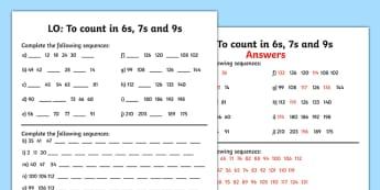 Counting in 6 7 and 9 Worksheet - counting, worksheet, 6, 7, 9