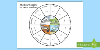 Four Seasons Wheel English/Spanish - seasons, weather, wheel, visual aids, aids, Spanish
