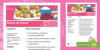 Easy Diwali Sweets Recipe English/Spanish - cooking, baking, instructions, ingredients, festival, religion, hindu, EAL, translation