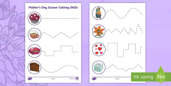 Mother's Day Themed Cutting Skills Activity Sheet - KS1 & KS2 Mother's Day UK (26.3.17)
