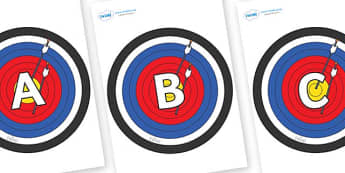 A-Z Alphabet on Archery Targets - A-Z, A4, display, Alphabet frieze, Display letters, Letter posters, A-Z letters, Alphabet flashcards