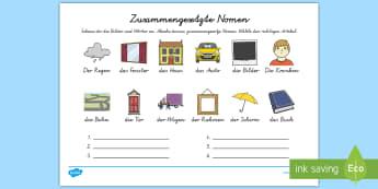 Zusammengesetzte Nomen Arbeitsblatt - Nomen, Zusammengesetzte Nomen, Wortbau, Grammatik, DAF, DAZ,German
