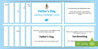 5-6 Father's Day Literacy Challenge Cards - father's day, literacy, challenge cards, dad, father, writing, spelling, grammar,Australia