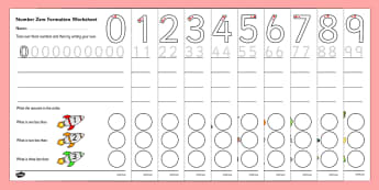 Number Formation Worksheets (0-9) - education, home school, free, overwriting