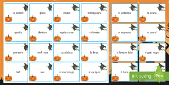 Halloween Matching Cards Spanish - 31st, october, festivities, celebrations, vocabulary