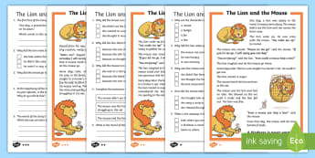 The Lion and the Mouse Differentiated Reading Comprehension Activity - KS1 Comprehensions, aesop's fable ,Aesop's fable,  moral, fable, KS1, key stage 1, key stage 1, ye