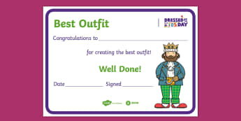 Dressed by the Kids Day Best Outfit Certificate - Oxfam, Dressed by the Kids Day, certificate, award