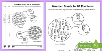 Number Bonds to 20 Problems Worksheet - numbers, bond, worksheet