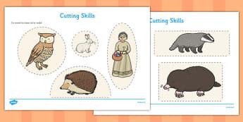 The Mitten Cutting Skills Worksheet - the mitten, cutting skills, worksheet