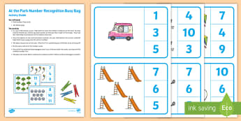At the Park Number Recognition Busy Bag Resource Pack for Parents - EYFS Parks and Gardens, playgrounds, number, counting, numeral, numeracy