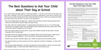 Questions to Ask Your Primary School Child about Their Day Parent and Carer Information Sheet - questions, advice, wellbeing, talking, primary, end of the day, end of day, well being, parent,