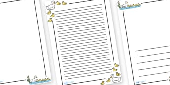 Five Little Ducks Page Borders - Five Little Ducks, nursery rhyme, Literacy, writing, page border, a4 border, template, writing aid, writing border, page template, rhyme, rhyming, nursery rhyme story, nursery rhymes, counting rhymes, taking away, sub