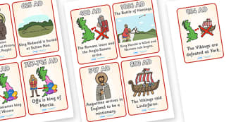 Anglo Saxons Timeline Sequencing Cards (4 per A4) - Anglo Saxon, Saxons, Anglo-saxon, history, Northumbria, sequencing, story sequencing, story resources, A4, cards, Kent, bronze helmet, East Anglia, Bayeux Tapestry, St. Bede, Offa's Duke, jewellery,