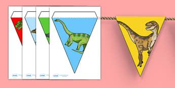 Realistic Dinosaurs Bunting - dinosaur, bunting, display bunting