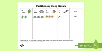 Partitioning Using Nature Outdoor Activity - NI KS2 Maths Resources, KS1 Resources, maths, partitions, column addition, digits value, hundreds, t