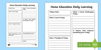 Home Education Daily Learning Journal Writing Template - Review, Home Ed, Diary, Learning record, Learning Log