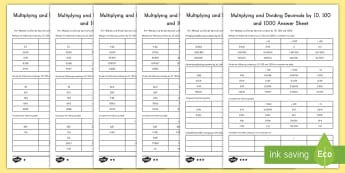 Multiplying and Dividing Decimals by 10, 100 and 1000 Differentiated Activity Sheets - math, multiplying, dividing, 10,100,1000,differentiated activity
