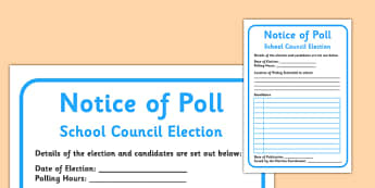 School Council Election Notice of Poll - school council, election, notice, poll