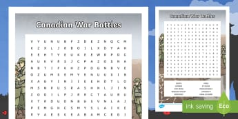 Canadian War Battles Word Search - Remembrance Day, Canada, Junior, Grade 4, Grade 5, Grade 6, First World War, Second World war, key w