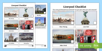 Liverpool Checklist Activity Sheet - Worksheet, city, outing, holiday, day trip, family, England, towns and cities