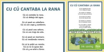 Cu cu cantaba la rana Nursery Rhyme Display Posters - Spanish KS2, la rana, nursery rhyme, song, poster, display