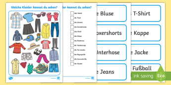 Clothes I Spy Activity Sheet - German - Clothes, German, I Spy, Game, MFL, Languages, Kleider, Spiel, Schau genau,German, worksheet