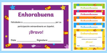 Spanish End of Year Contribution Award Certificate