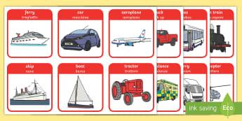 Transport Flashcards English/Italian - flash cards, cards, flash, image cards, word cards, transport, travel, travelling, transport cards,