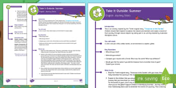 KS1  Take It Outside: Summer Journey Sticks Activity - outdoor learning, forest school, nature detectives, treasures in the garden, outdoor, woodland learning, twinkl outdoor and woodland learning owl get it