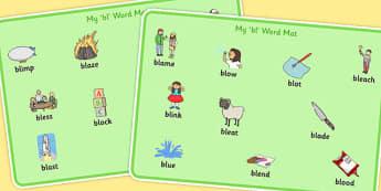 BL Word Mats - bl sound, word mats, word, mats, sound, bl, sen