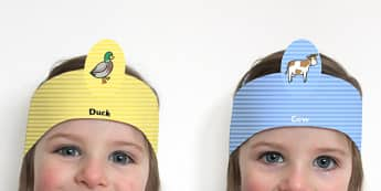 Farmer and Duck Role Play Headbands - farmer duck, farmer duck headbands, stories, story books, roleplay