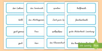 Schule Wort  und Bilderkarten für Rollenspiele - Wortkarten, Bilderkarten, Schule, Klassenzimmer Klassenraum, Rollenspiel, Spielen, lesenm, schreiben
