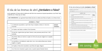 April Fools' Day True or False? Activity Sheet Spanish - April, fools, day, spain, true, false, reading, comprehension, activity, sheet, worksheet, research