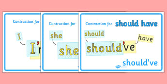 Contractions Grammar Display Posters - contractions, grammar, KS2, display, poster, sign, contraction for, apostrophe, she, she'll, I, I'm, contracting