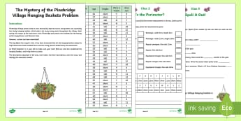 LKS2 Mystery of the Pinebridge Village Hanging Baskets  Problem Solving  Game - LKS2, lower key stage 2, year 3. year 4, y4, y3, maths,spring, maths game, problem solving, calculat