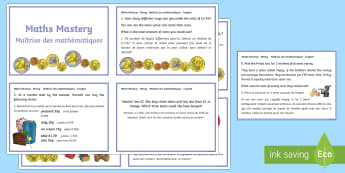 Money Maths Mastery Challenge Cards - English/French - Year 3, money, value, totals, finding change, skills, maths mastery, EAL