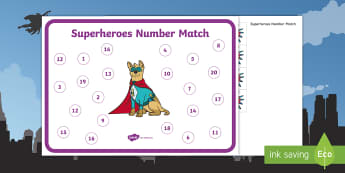 Superheroes Number Match Activity Mat - superhero, comics, comic book, number match, number activity mat, superhero math, superhero number m