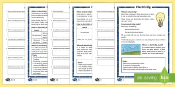 Electricity Differentiated Comprehension Go Respond  Activity Sheets - Light, dark, sources, science, ks1, year 1, year 2, lights, shadows, reading comprehension, electric