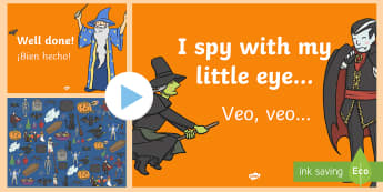 Halloween I Spy Activity Sheet and PowerPoint Pack English/Spanish - Halloween, I spy, find, describe, guess, EAL