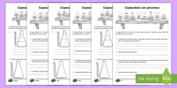 Ficha de actividad: Capacidad con pociones - CM - pociones, magia, mates, matemáticas, capacidad, sumas, restas, operaciones, unidades, ml, mililitro