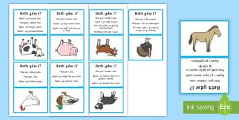 Gem Ddyfalu Beth Ydw i? Anifeiliaid y Fferm - cow, buwch, dafad, sheep, goat, gafr, mochyn, pig, cath, cat, ci, dog, iar, chicken, twrci, turkey,