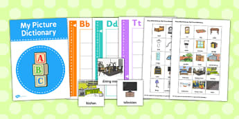 Home Picture Dictionary Word Cards - home, picture, word, cards