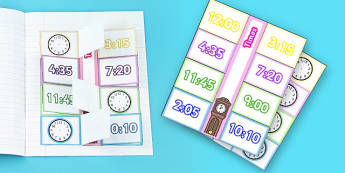 Time Writing Clocks Foldable Visual Aid Template - Time writing, Time, half past, five minute intervals, quarter past, quarter to