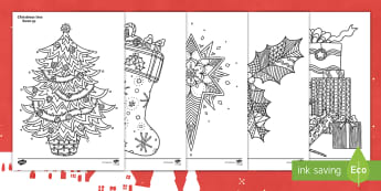 Christmas Themed Mindfulness Colouring Pages English/Hindi - festive, Christmas, plants, tree, gifts, wishes, EAL, mindfulness, colour in